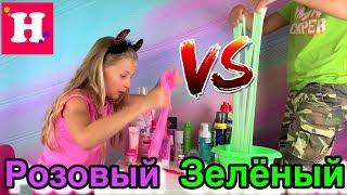 БИТВА СЛАЙМЕРОВ 💖 ЗЕЛЕНЫЙ против РОЗОВОГО Слайма Челлендж 💚  Slime Challenge