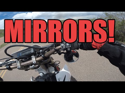 Under-Bar Motorcycle Mirrors on a Supermoto