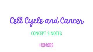Unit 2 Cells: Concept 3 Notes HONORS