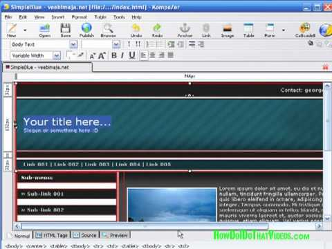 How to Create and Customize Web Templates in Kompozer - YouTube