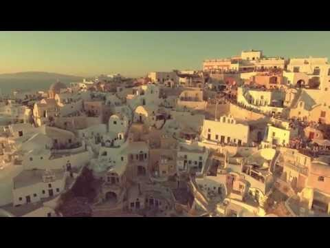 4K Droning in Oia Santorini at Sunset
