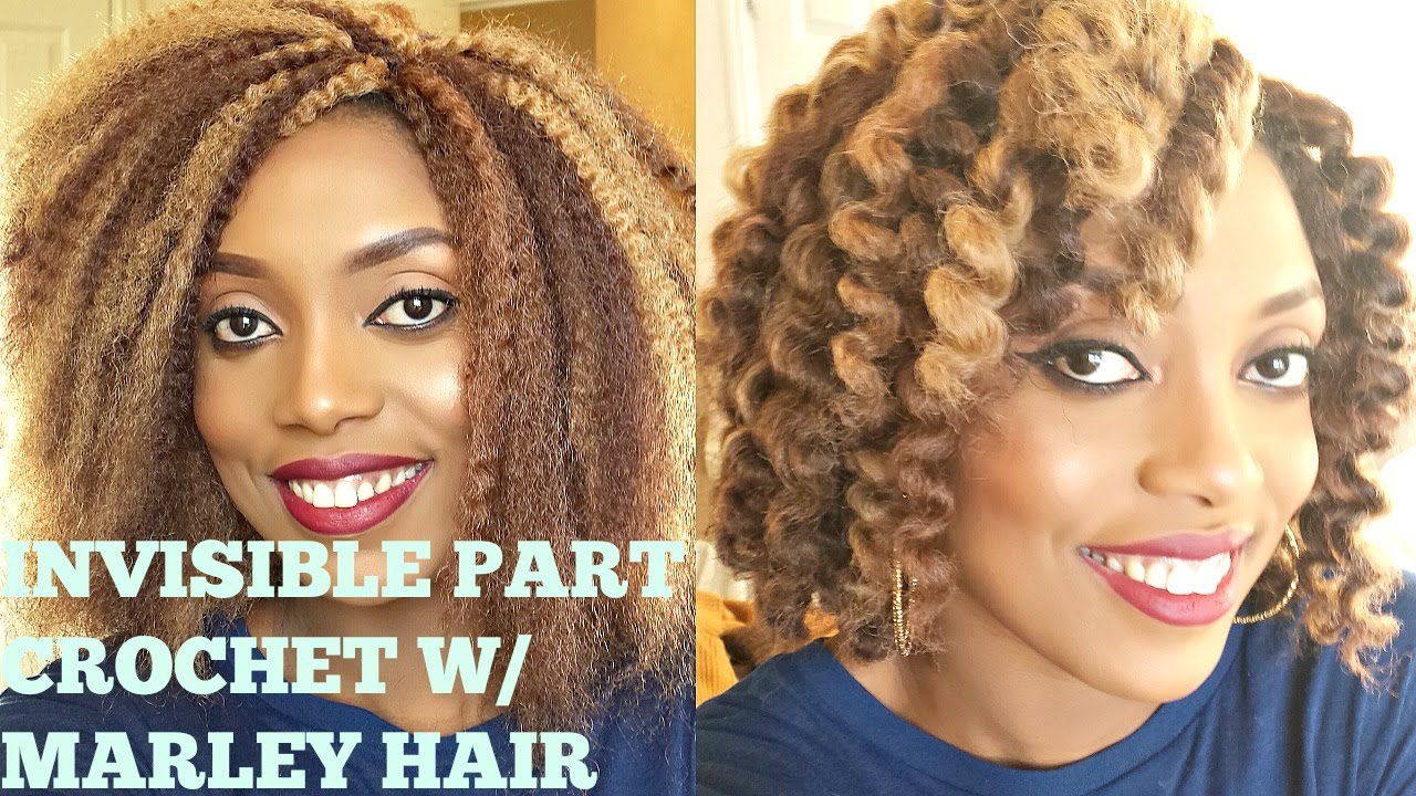 CROCHET BRAIDS w/ MARLEY HAIR( INVISIBLE/ NO KNOT PART) - YouTube
