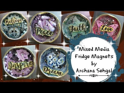 Mixed media Fridge magnets using Jar Lids || DIY Fridge Magnets
