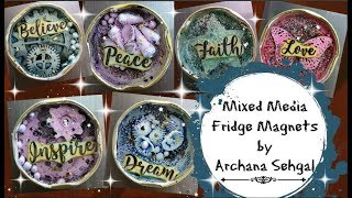 Mixed media Fridge magnets using Jar Lids || DIY Fridge Magnets