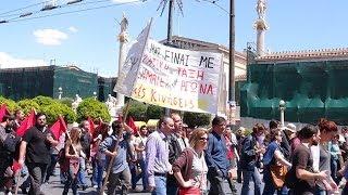 Первомай в Афинах 2014(Многотысячные демонстрации и митинги проходят сегодня 1 мая 2014 года по всей Греции. В стране объявлена..., 2014-05-01T10:11:57.000Z)