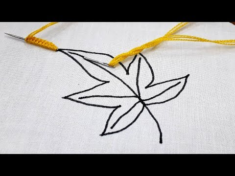 Hand embroidery latest Brazilian leaf stitch design tutorial thumbnail