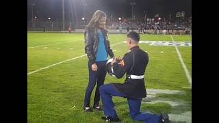 Marine surprises girl friends ! mary me!