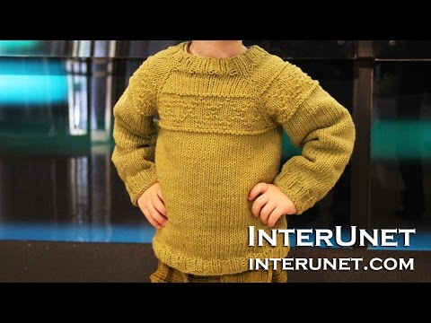 Knit a raglan sleeve sweater for a toddler boy - rhombus pattern