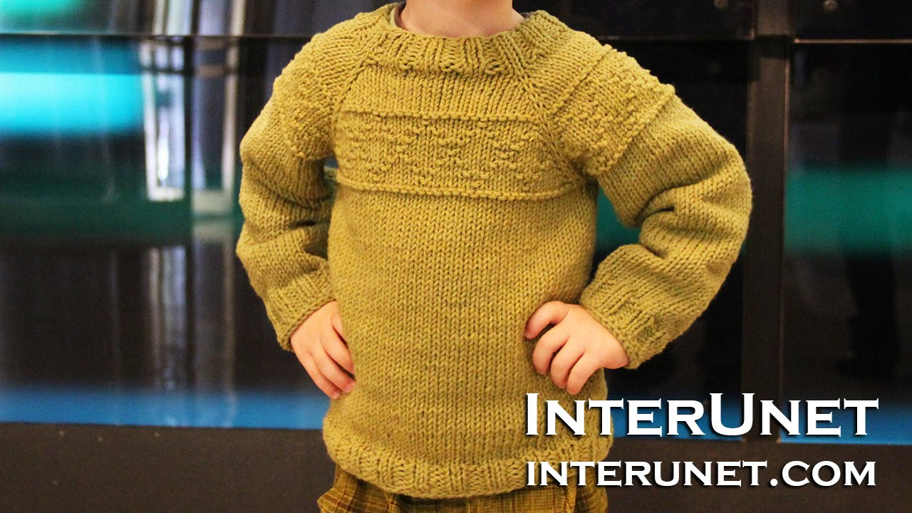 Knit a raglan sleeve sweater for a toddler boy - rhombus pattern ...