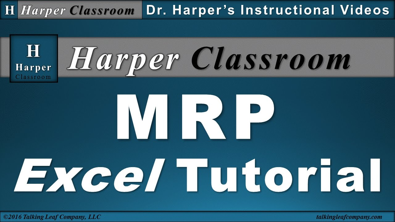 excel tutorial mrp material requirements planning dr harper s classroom youtube. Black Bedroom Furniture Sets. Home Design Ideas