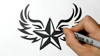 How to Draw a Nautical Star with Wings - Tribal Style(How to draw a nautical star with wings in a tribal tattoo design style. This is a quick sketch. Thank you for watching and Subscribe! Materials used: 110lb card ..., 2015-03-30T14:53:56.000Z)