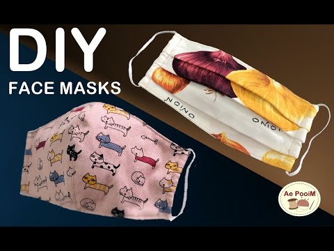 DIY FACE MASK 2 STYLES, Free Pattern Download  // วิธีทำผ้าปิดปาก หน้ากากป้องกันฝุ่น 2 สไตล์
