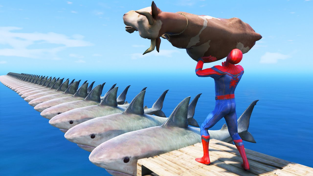 SPIDERMAN VS COW | GTA 5 Water Ragdolls Shark Bridge #109 (Euphoria Physics)