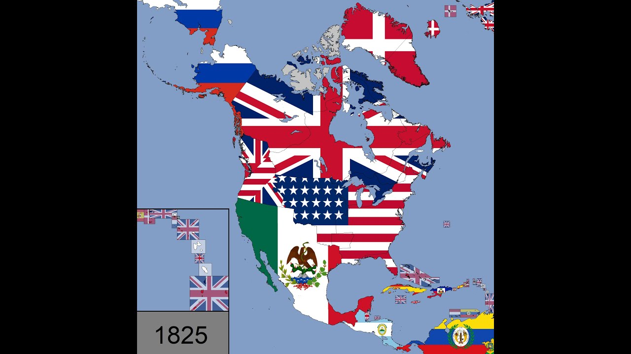 Download North America: Timeline of National Flags: 1450 - 2020