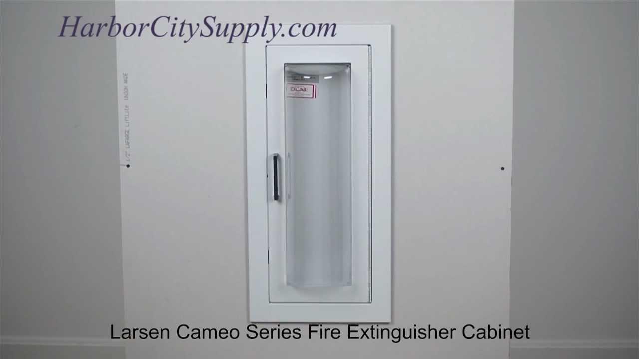 SemiRecessed Fire Extinguisher Cabinet Larsen Cameo Series - Semi recessed fire extinguisher cabinet