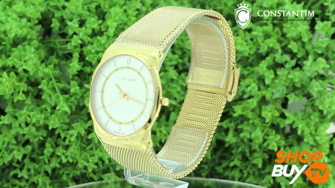 339e359accc Relógio Constantim Slim Gold - ShopBuy - YouTube