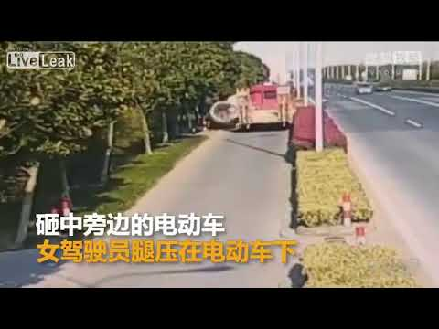 HOT NEW! 2 ton cement pipe rolls off the truck and lands on a cyclists