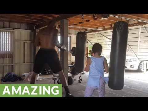 6-year-old girl trains with dad to become pro boxer