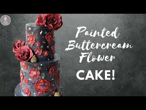 Dark Grey And Red Buttercream Painted Flower Tutorial!