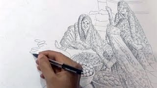 """Drawing """"Vegetable Seller"""" With Ballpoint Pen 