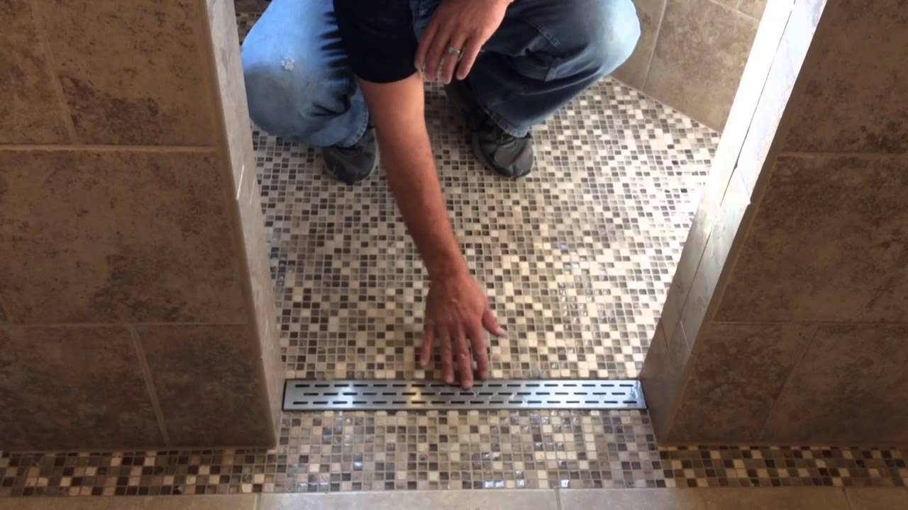 Linear Drain In Tile Shower   YouTube