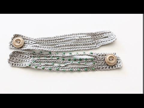 Easy Crochet Boho Cuff Bracelet Tutorial Youtube