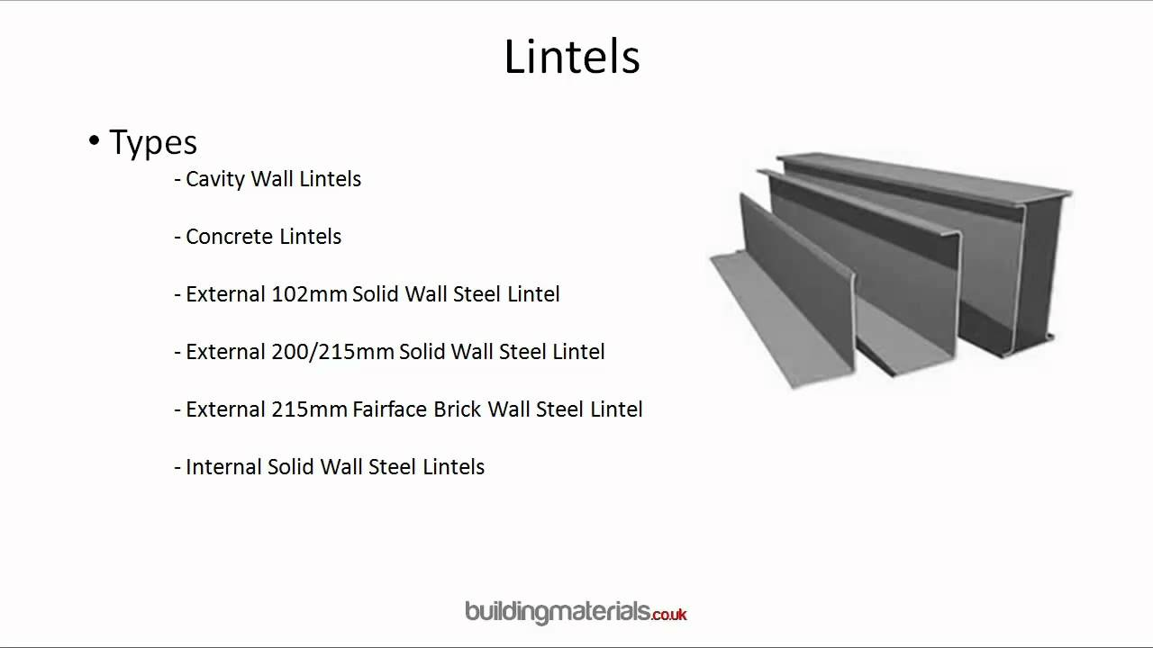 Lintels - For above windows and doors providing structural support ...