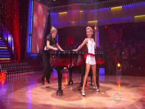 Julianne and Derek Hough performing the Jive