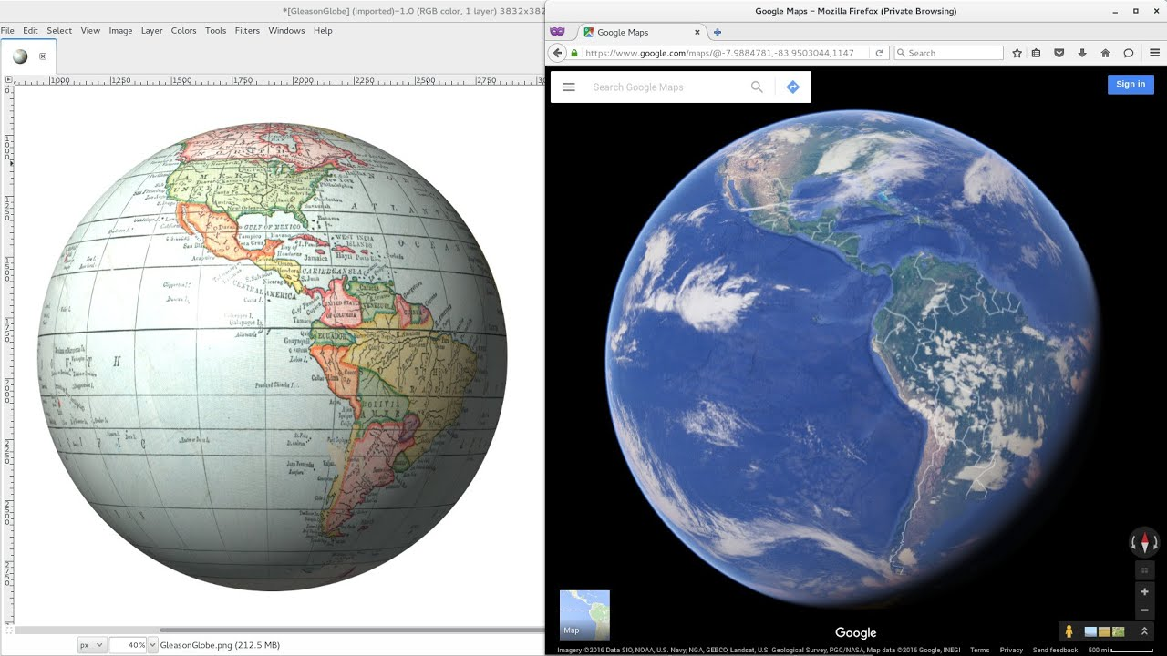 Gleason flat earth map to mercator projection to globe youtube gumiabroncs Images