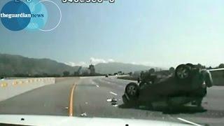 Police chase in Utah: car flips on highway