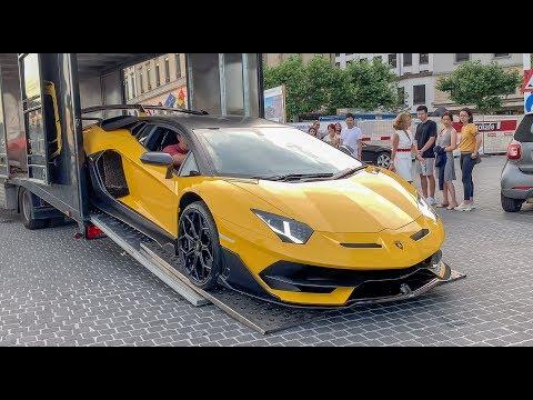 BEST SUPERCARS 2019 – Unloading a Lamborghini Aventador SVJ in Geneva