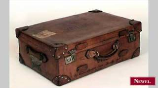 Antique English Large Brown Leather Valise