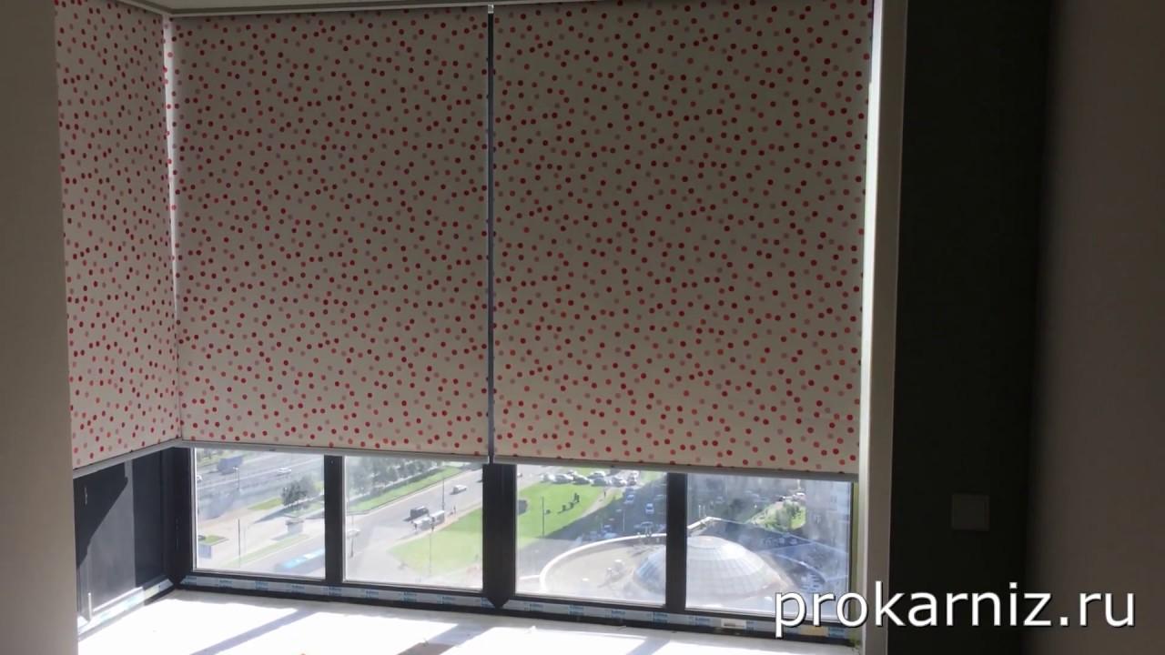 электрические рулонные шторы Somfy на понарамные окна