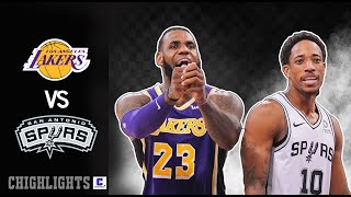Los Angeles Lakers vs San Antonio Spurs - Full Game Highlights |  2019-NBA Season I Nov 3 ,2019