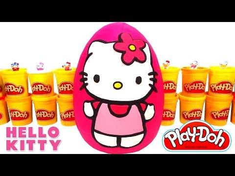 Huevo Sorpresa Gigante de Hello Kitty en Español Latino de Plastilina Play Doh