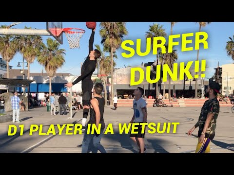 SURFER HUSTLES TRASH TALKERS at Venice Beach!! Ex D1 Basketball Player Disguised In A Wetsuit