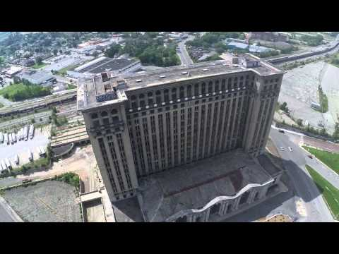Abandoned Michigan Central Train Station in Detroit, Filmed with DJI Phantom 2 Drone