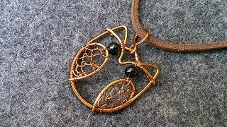 copper cute owl pendant  - how to make wire wrap jewelry 20