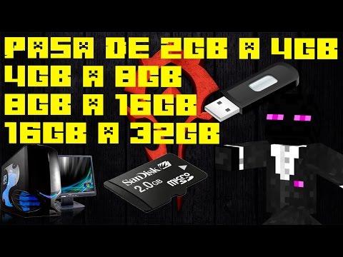 Como Aumentar La Memoria De Un USB o SD / 2Gb - 4Gb - 8Gb 16Gb - 32Gb