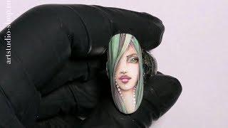Дизайн ногтей гель лаком, акварель - человек-лицо