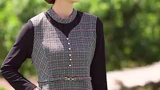 🔴Váy dài tay trung niên quần áo mùa thu đông