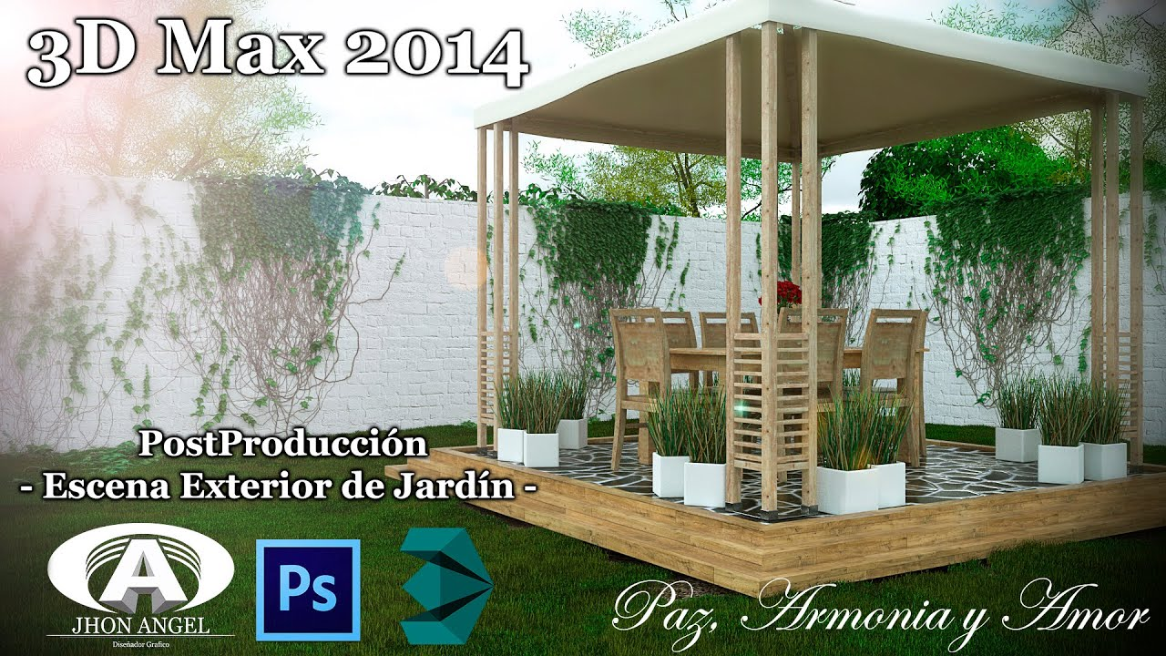 d max photoshop tutorial escena exterior de jardn youtube
