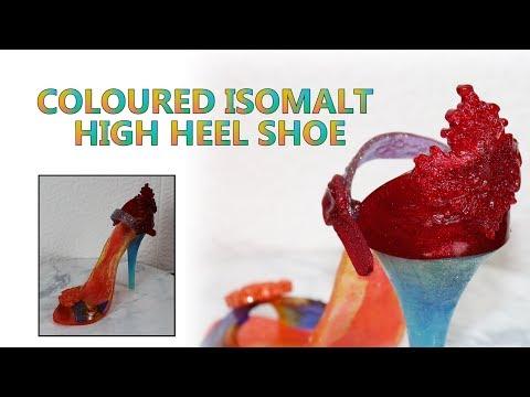 isomalt-sugar-art---colored-isomalt-shoe-cake-topper---cake-decorating