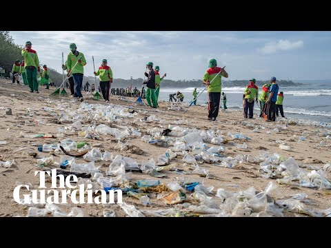 Bali's famous beaches covered in plastic garbage