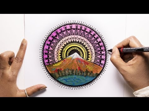MANDALA ART 04 | Mountain Mandala | Acrylic Landscape Painting