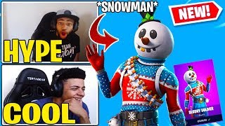 "Streamers React To *NEW* Fortnite SNOWMAN ""SLUSHY SOLDIER"" Skin!!"