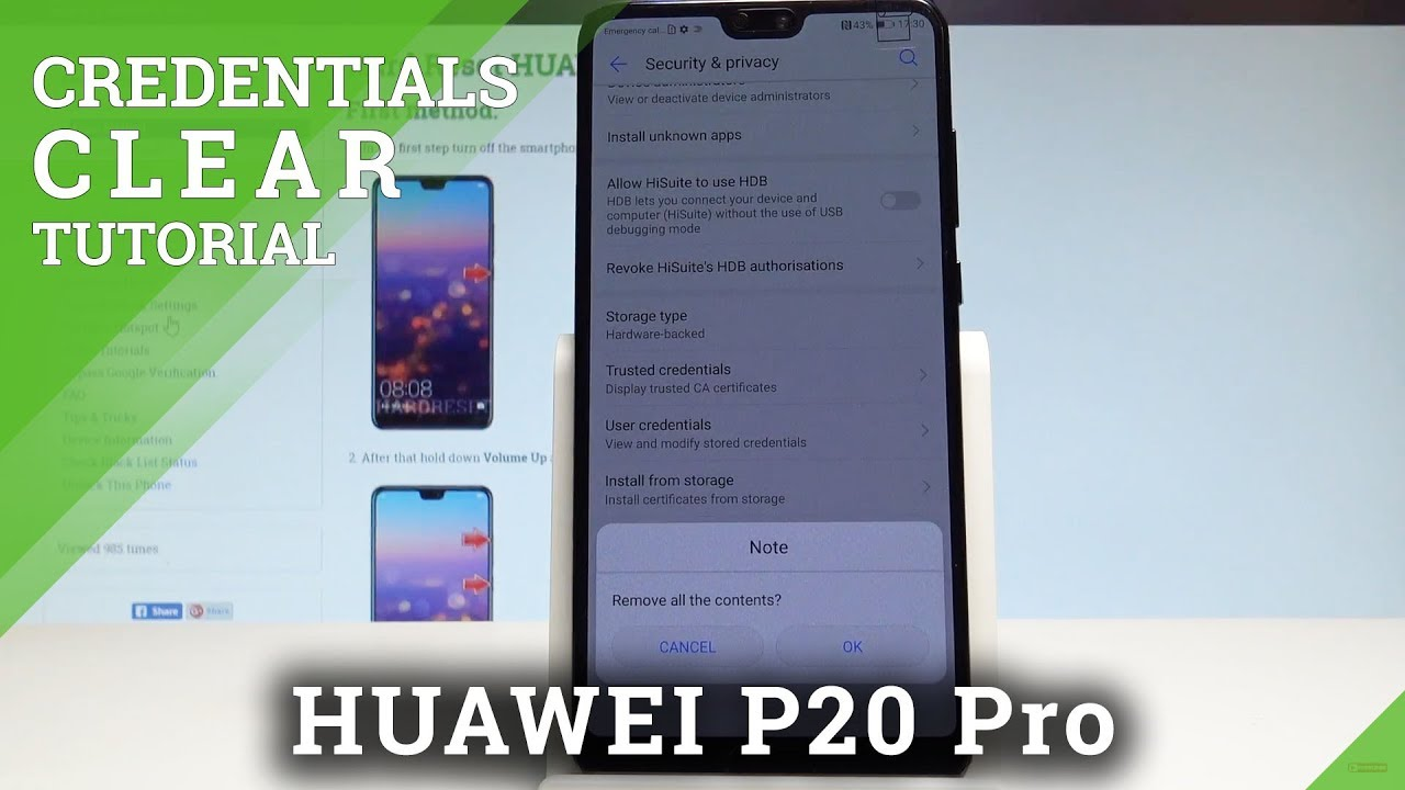 How to Clear Credentials in HUAWEI P20 Pro - Remove Certificates  |HardReset Info