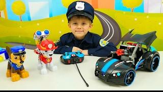 Машинка Полицейская и Щенячий Патруль Гончик с Маршалом. Даник полицейский. Детские видео про машин