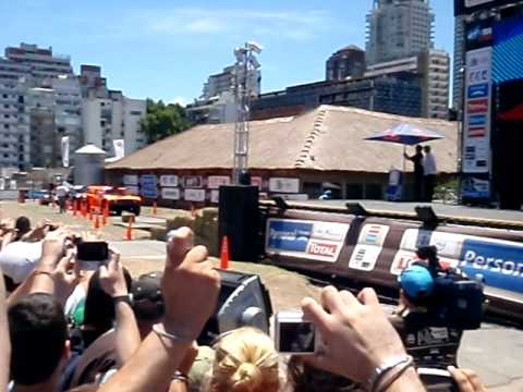 Dakar 2011 - Robby Gordon jump with Hummer on podium Travel Video