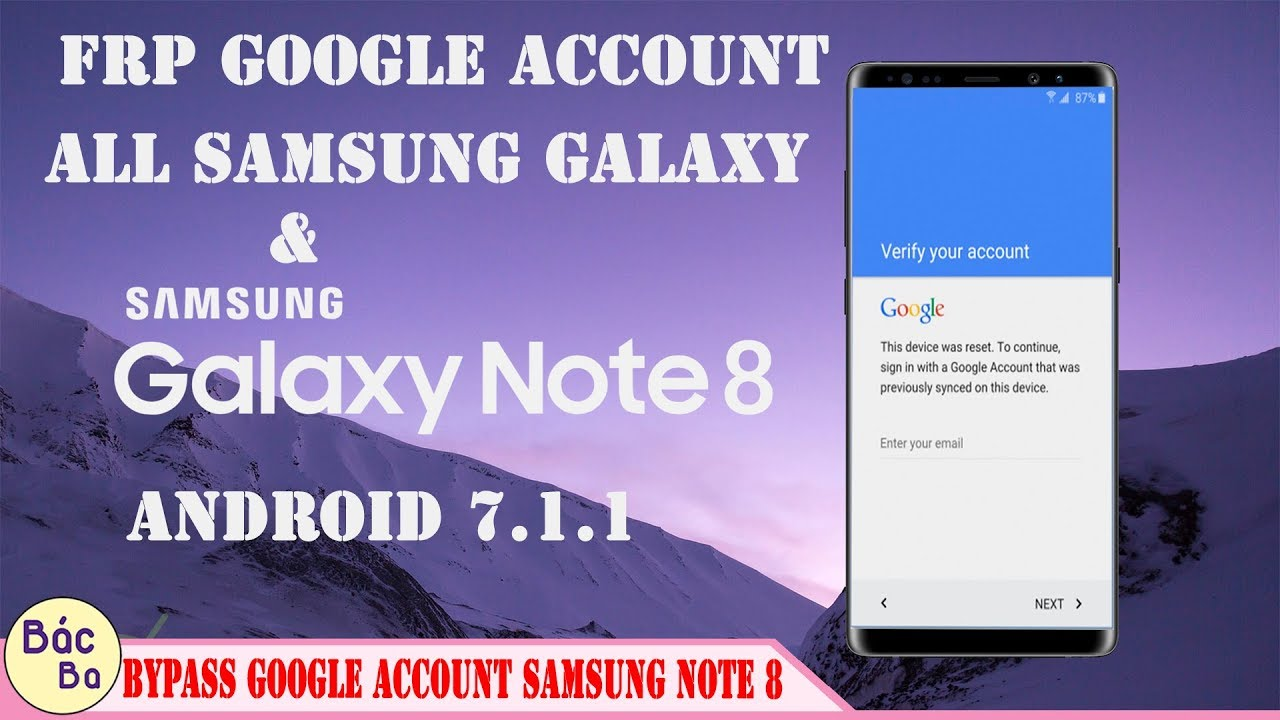 How To Bypass FRP Google Account All Samsung Galaxy & Galaxy Note 8 Android  7 1 1